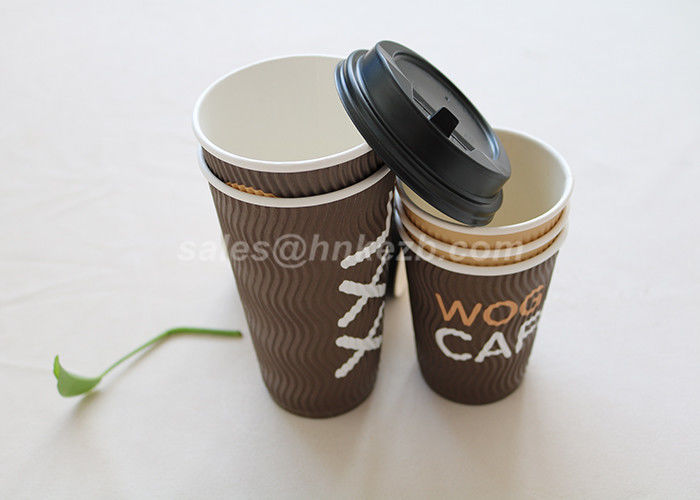 Large Capacity 22 Oz Disposable Ripple Paper Cups For Coffee / Tea With Lid And Sleeve